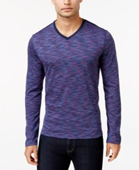 Alfani Men's Big And Tall Tri Color Long Sleeve T Shirt Only At Macy's Tropic Blue Combo
