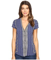 Lucky Brand Printed Button Front Tee Blue Multi Women's T Shirt