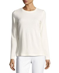 Akris Punto Pleated Back Jersey Sweatshirt Cream