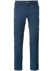 Fay Regular Trousers Men Cotton Spandex Elastane 34 Blue