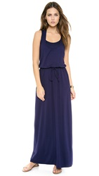 Three Dots Drawstring Maxi Tank Dress Evening Blue