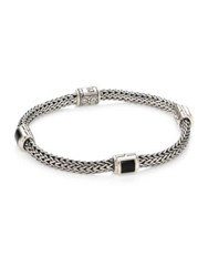 John Hardy Classic Chain Extra Small Silver And Black Onyx Four Station Bracelet