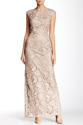 Sue Wong Full Length Lace Gown Beige