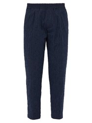 The Gigi King Mid Rise Cotton Blend Trousers Navy