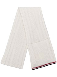 Thom Browne White Cable Pocket Scarf