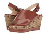Nine West Vanessa Cognac Leather Wedge Shoes Brown