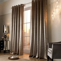 Kylie Minogue At Home Adelphi Lined Eyelet Curtains Caramel Bronze