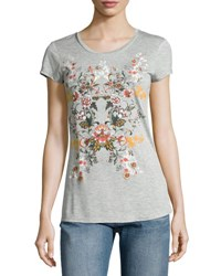 Romeo And Juliet Couture Floral Graphic Jersey Tee Gray Pattern