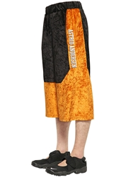 Astrid Andersen Color Block Cotton Velour Shorts Black Orange