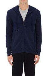 Barneys New York Men's Cashmere Zip Front Hoodie Navy