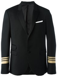Neil Barrett Striped Cuff Blazer Black