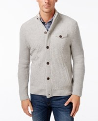 Tasso Elba Men's Button Front Wool Cardigan Only At Macy's Light Grey Heather
