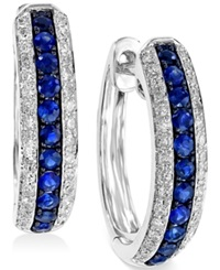 Effy Collection Effy Sapphire 1 3 Ct. T.W. And Diamond 1 4 Ct. T.W. Hoop Earrings In 14K White Gold Blue