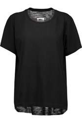 Maison Martin Margiela Mm6 Cotton Jersey And Ribbed Knit T Shirt Black