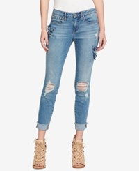 Jessica Simpson Juniors' Forever Ripped Embellished Skinny Jeans Burbank