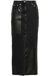 Mcq By Alexander Mcqueen Woman Split Front Denim And Faux Leather Midi Skirt Charcoal