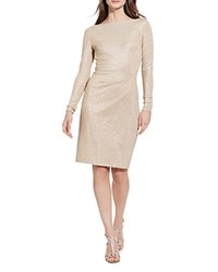 Ralph Lauren Metallic Sheath Dress Pierre Cream