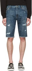 Dolce And Gabbana Blue Denim Frayed Shorts