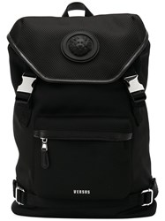 Versus Buckled Backpack Cotton Calf Leather Polyester Black