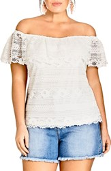 City Chic Plus Size Summer Frill Lace Off The Shoulder Top Ivory