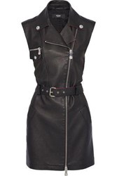 Versus By Versace Woman Belted Textured Leather And Jersey Mini Dress Black