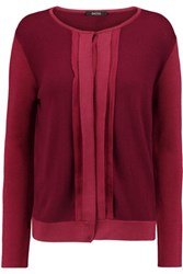 Raoul Crepe De Chine Trimmed Knitted Cardigan Claret