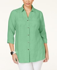 Jm Collection Woman Jm Collection Plus Size Button Down Linen Shirt Only At Macy's Waterfall Mint