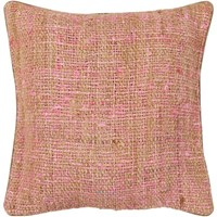 Chandra Textured Contemporary Silk Fabric Pillow Pink Natural 18 Inch Beige