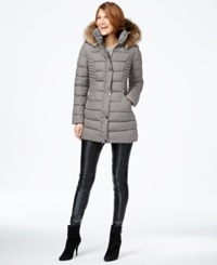 Inc International Concepts Faux Fur Trim Quilted Puffer Coat Only At Macy's Pebble