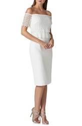 Kay Unger Off The Shoulder Lace Sheath Dress Ivory