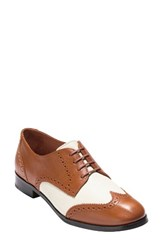 Cole Haan Women's Jagger Derby British Tan Ivory Leather