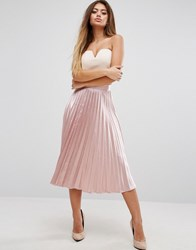 Prettylittlething Satin Pleated Skirt Pink