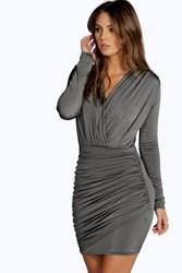 Boohoo Slinky Wrap Long Sleeve Bodycon Dress Grey