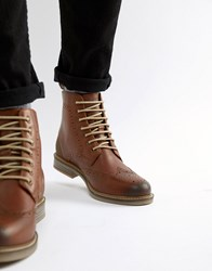 Barbour Belsay Leather Lace Up Boots In Tan