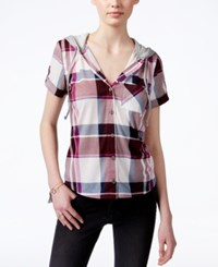 Polly And Esther Juniors' Hooded Short Sleeve Plaid Shirt Burgundy Pink