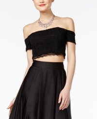 Sequin Hearts Juniors' Off The Shoulder Lace Crop Top Black