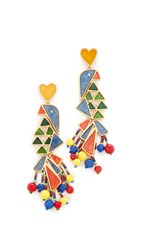 Tory Burch Parrot Statement Earrings Blue Multi Vintage Gold
