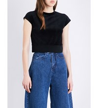 Miharayasuhiro Ribbed Hem Velour Top Black