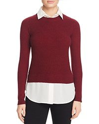 Bloomingdale's C By Layered Look Waffle Knit Cashmere Sweater Cabernet White