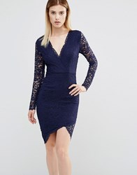 Ax Paris Plunge Front Mini Dress With Lace Sleeves Navy