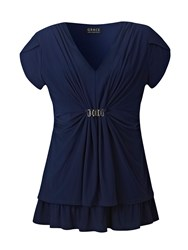 Grace Made In Britain Print Tunic Top Navy