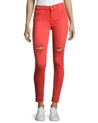 7 For All Mankind The Ankle Distressed Skinny Jeans Red