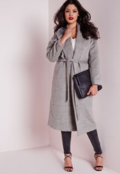 Missguided Plus Size Belted Wool Coat Grey Grey