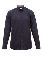 Burberry Louis Logo Embroidered Stretch Cotton Shirt Navy