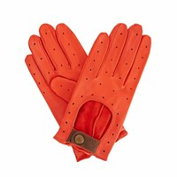 Gizelle Renee Bernadette Orange Leather Driving Gloves With Coffee Cashmere Yellow Orange