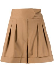 Tommy Hilfiger High Rise Pleated Shorts Brown