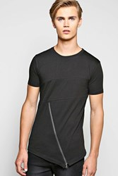 Boohoo Asymmetric Zip Front T Shirt Black