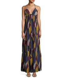 Baandsh Patterned Weave V Neck Maxi Dress Multi