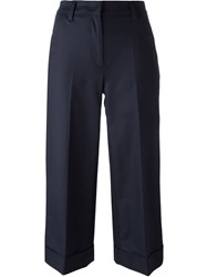 Moncler Cropped Wide Leg Trousers Blue