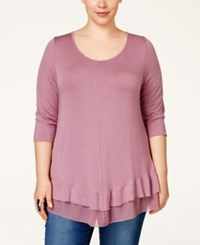American Rag Plus Size Chiffon Hem Tunic Only At Macy's Raspberry